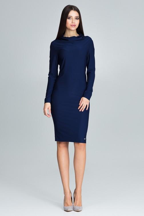 CM3669 Ołówkowa sukienka z długim rękawem - granatowa