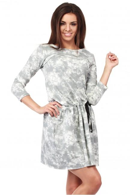 Rozkloszowana sukienka batik z rękawami 3/4 - szara