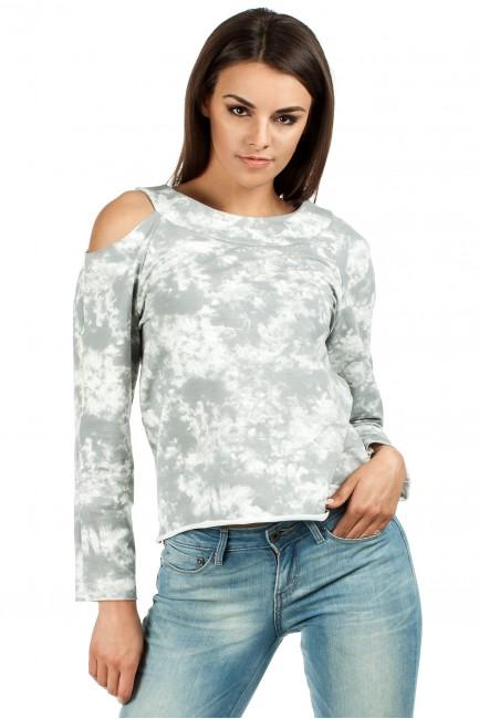 Oryginalna bluza z dzianiny batik z długimi rękawami i odkrytym ramieniem - szara