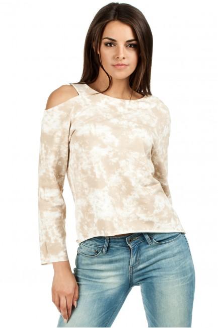 Oryginalna bluza z dzianiny batik z długimi rękawami i odkrytym ramieniem - beżowa