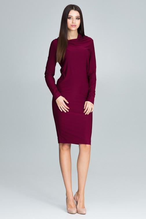CM3669 Ołówkowa sukienka z długim rękawem - bordowa
