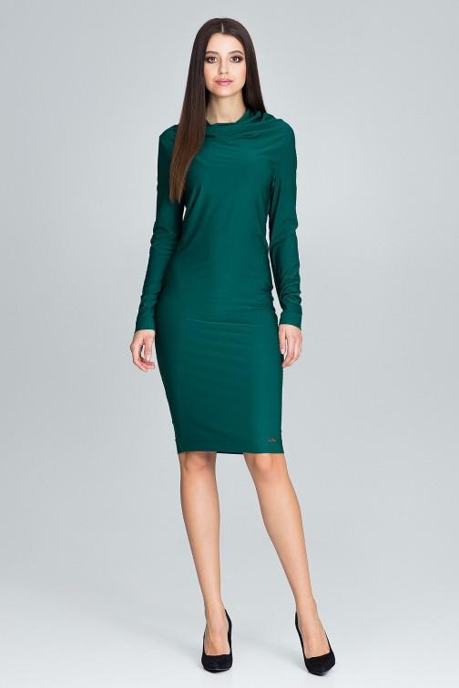 CM3669 Ołówkowa sukienka z długim rękawem - zielona