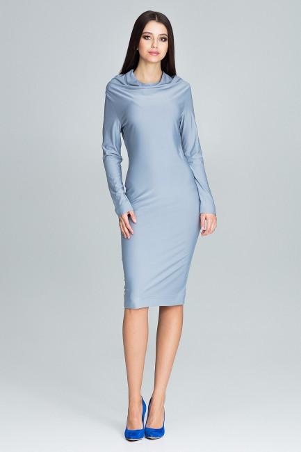 Ołówkowa sukienka z długim rękawem - szara