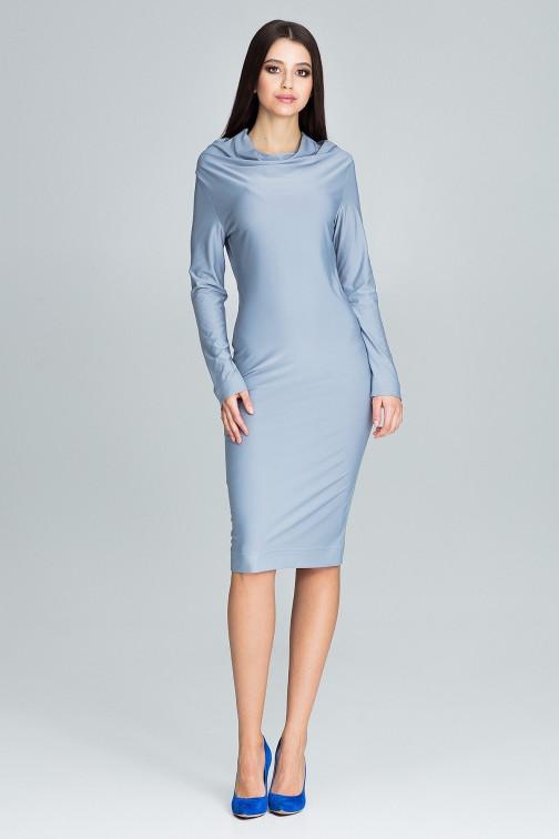 CM3669 Ołówkowa sukienka z długim rękawem - szara