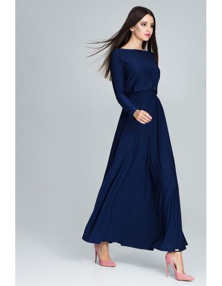 Prosta sukienka maxi z długim rękawem - granatowa
