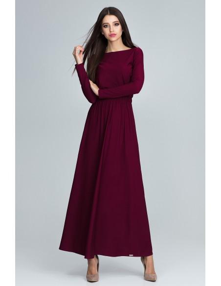 Prosta sukienka maxi z długim rękawem - bordowa