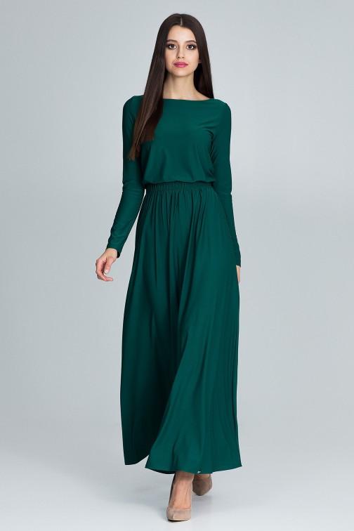 CM3670 Prosta sukienka maxi z długim rękawem - zielona