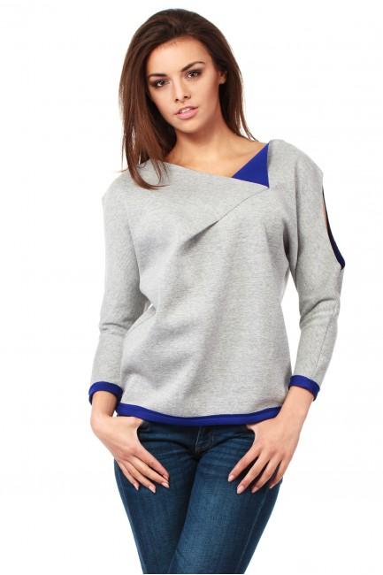 Bluza damska z pianki z ozdobnym rozcięciem na ramieniu - chabrowa