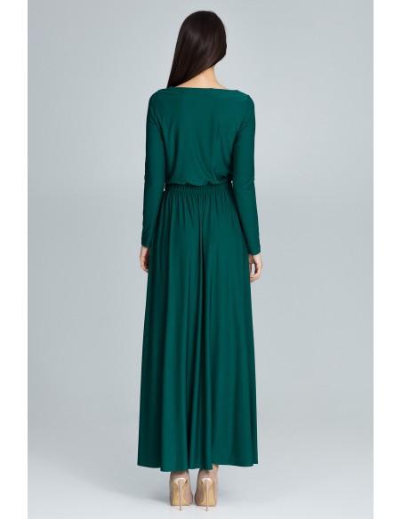 Prosta sukienka maxi z długim rękawem - zielona