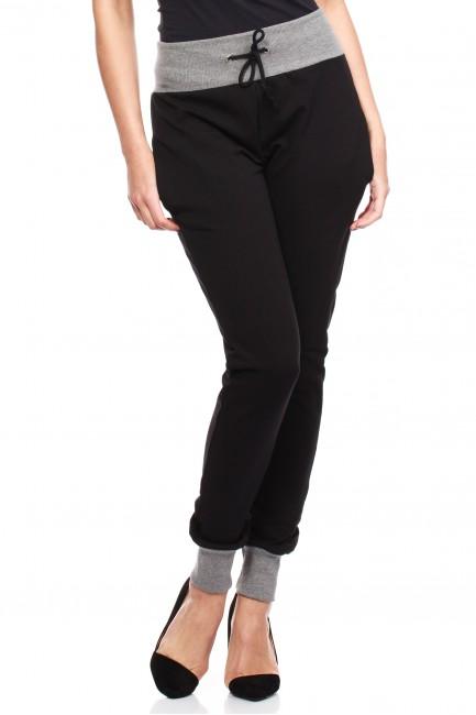 Dresowe spodnie damskie ze ściągaczami - czarne