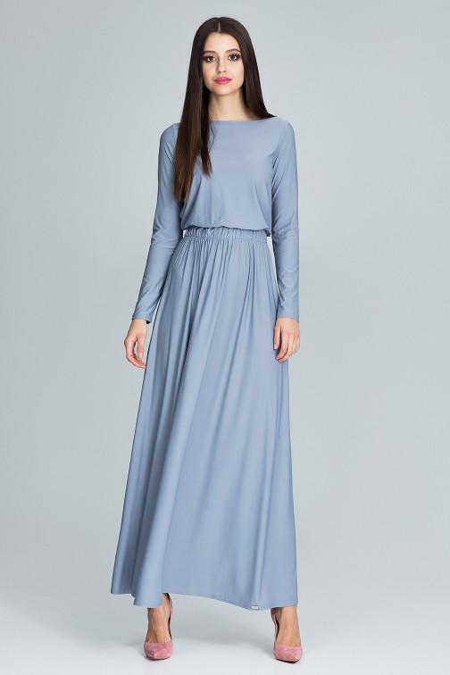 CM3670 Prosta sukienka maxi z długim rękawem - szara