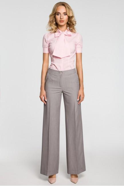 Damskie spodnie z szerokimi nogawkami - szare