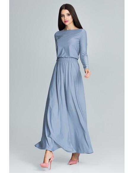 Prosta sukienka maxi z długim rękawem - szara