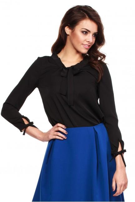 Elegancka, kobieca bluzka koszulowa - czarna