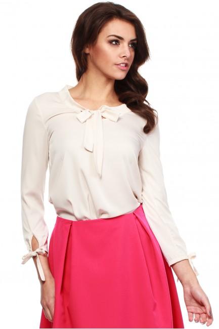 Elegancka, kobieca bluzka koszulowa - beżowa