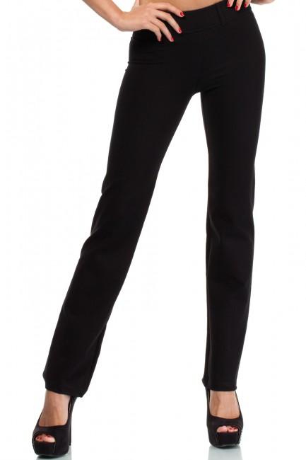 Eleganckie spodnie z rozszerzającymi się na dole nogawkami - czarne