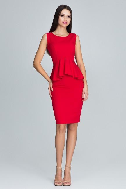 Komplet - dopasowana spódnica i bluzka - czerwony