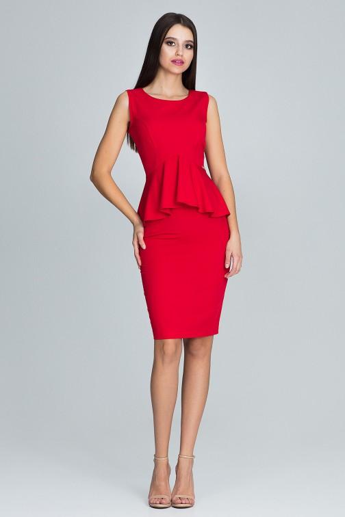 CM3671 Komplet - dopasowana spódnica i bluzka - czerwony