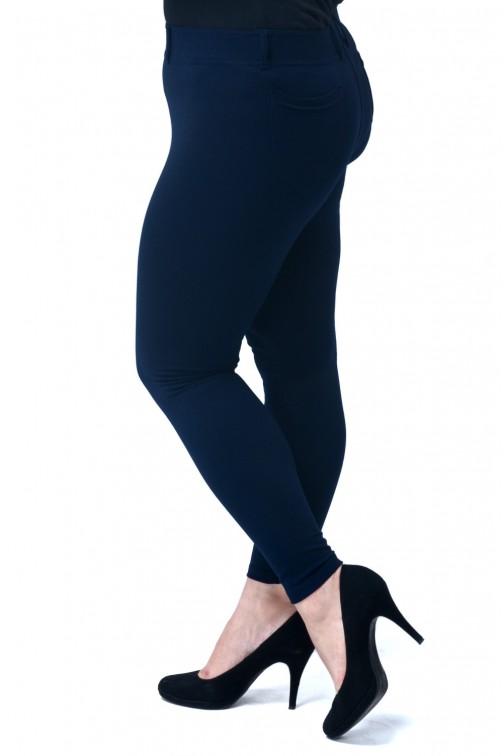 Eleganckie dopasowane legginsy damskie z kieszeniami z tyłu - granatowe
