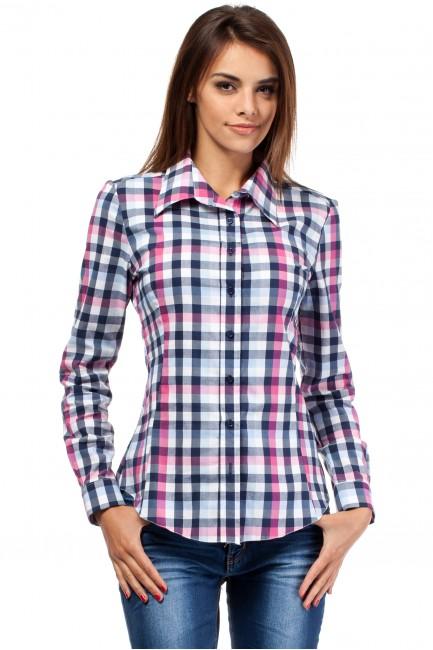 Damska koszula w kratę z długim rękawem - różowa