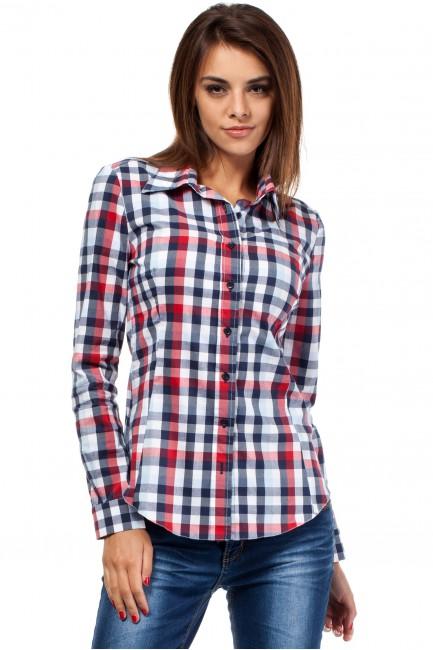 Damska koszula w kratę z długim rękawem - czerwona