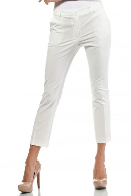 Eleganckie spodnie damskie z pasem - ecru