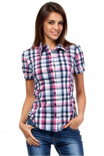 Kobieca koszula z krótkim rękawem w kratę - różowa