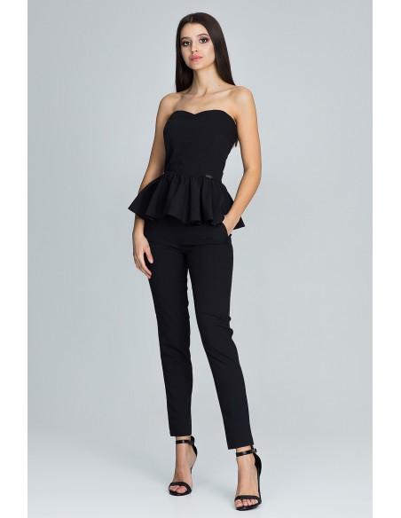 Elegancki komplet - spodnie z gorsetem - czarny