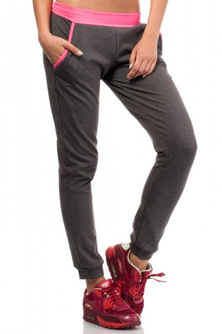 Dresowe sportowe spodnie damskie - grafitowo-różowe