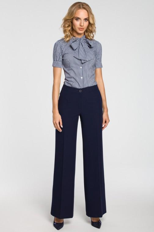 CM3102 Damskie spodnie z szerokimi nogawkami - granatowe