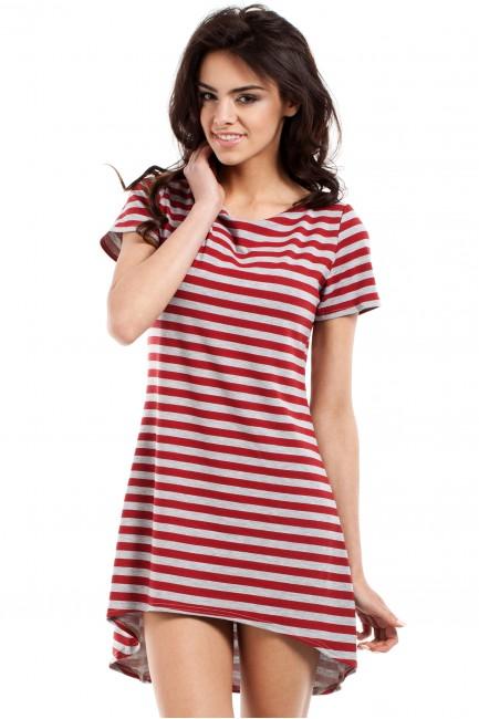 Asymetryczna dopasowana tunika damska - czerwona