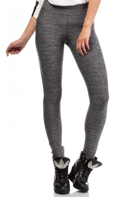 Gładkie legginsy - szary-melanż