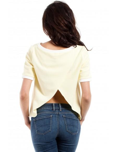 Modna bluzka damska z zakładką na plecach - żółta