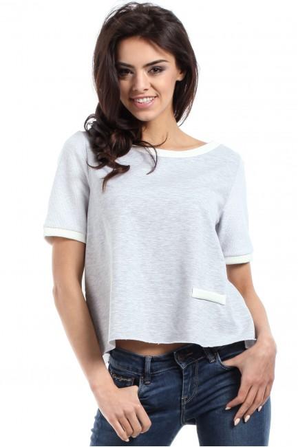 Modna bluzka damska z zakładką na plecach - szara