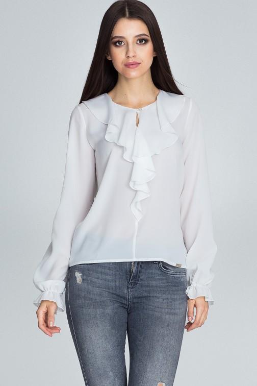 CM3674 Szyfonowa bluzka z żabotem - ecru