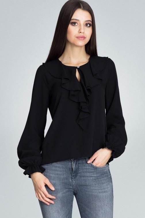 CM3674 Szyfonowa bluzka z żabotem - czarna