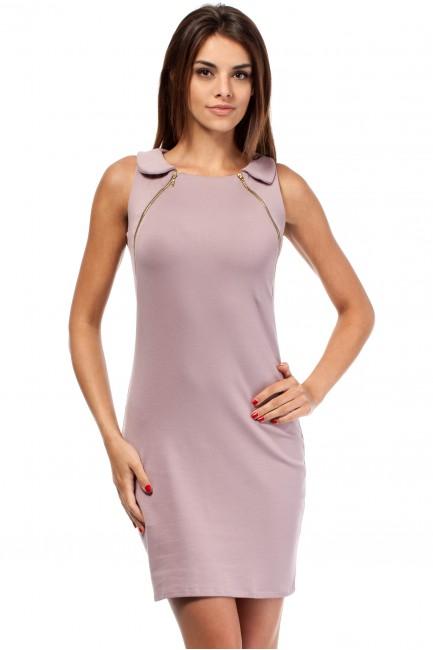 Taliowana sukienka z zamkami i kołnierzem - wrzosowa
