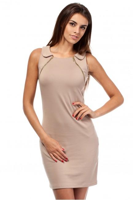 Taliowana sukienka z zamkami i kołnierzem - cappuccino