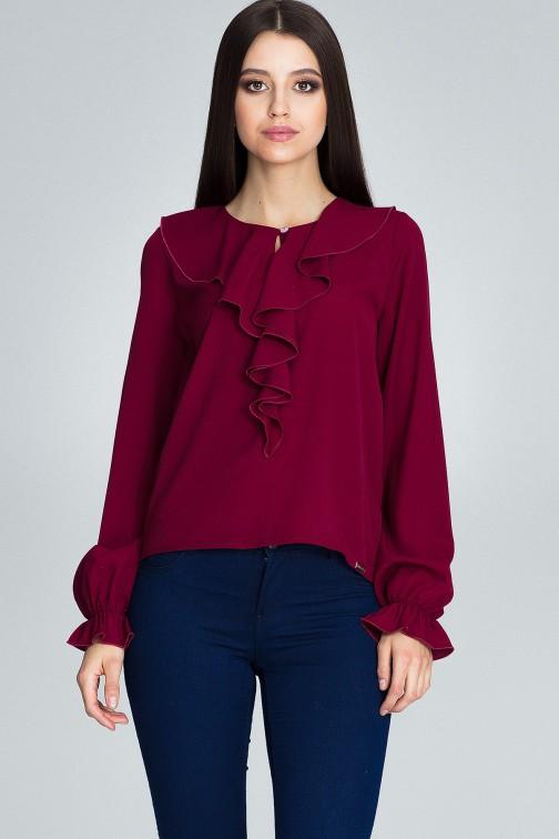 CM3674 Szyfonowa bluzka z żabotem - bordowa