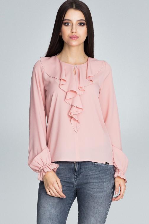 CM3674 Szyfonowa bluzka z żabotem - różowa