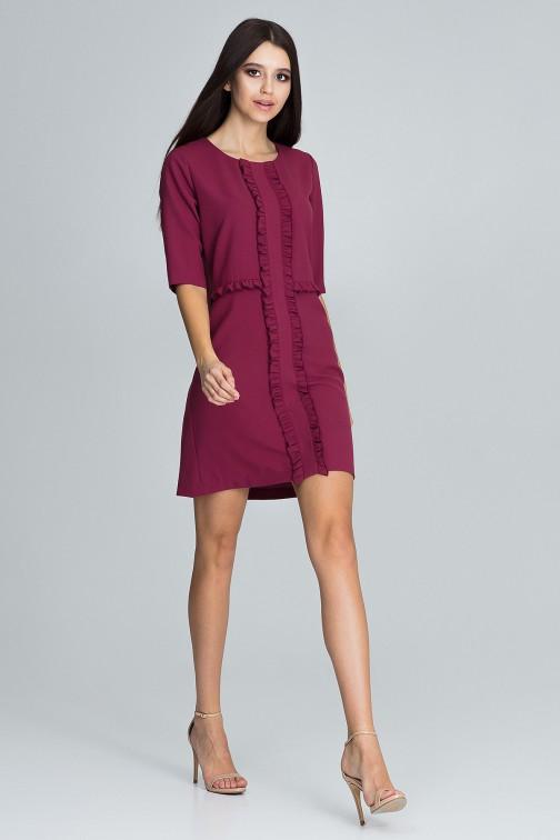 CM3675 Sukienka z falbankami i rękawem 3/4 - bordowa
