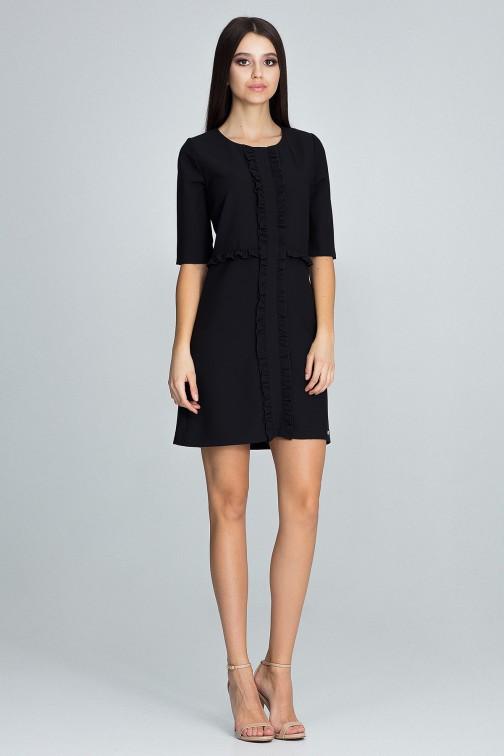 CM3675 Sukienka z falbankami i rękawem 3/4 - czarna
