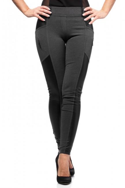 Dopasowane legginsy damskie ze skórzanymi wstawkami - grafitowe