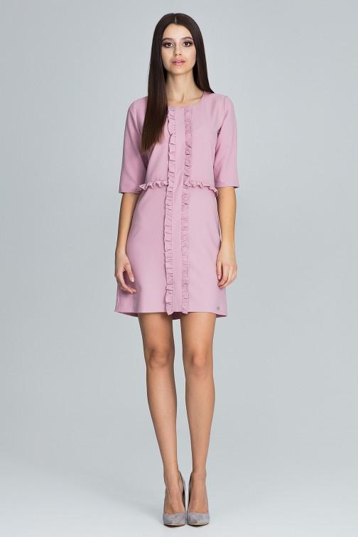 CM3675 Sukienka z falbankami i rękawem 3/4 - różowa