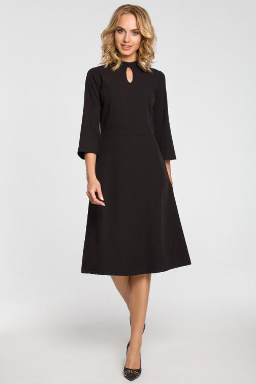 CM3103 Sukienka z łezką w dekolcie - czarna