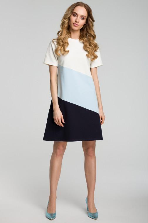 CM3633 Sukienka mini w 3 kolory - błękitna