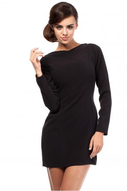 Taliowana sukienka z dekoltem w serek - czarna