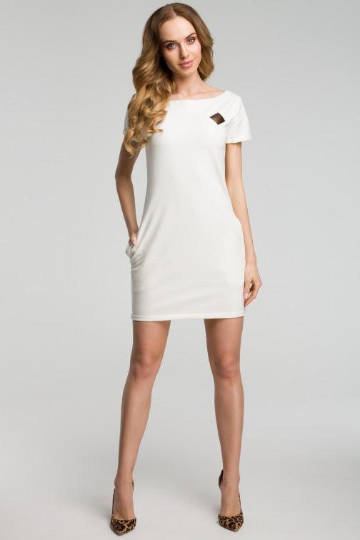 CM3634 Sukienka mini z naszywką - ecru