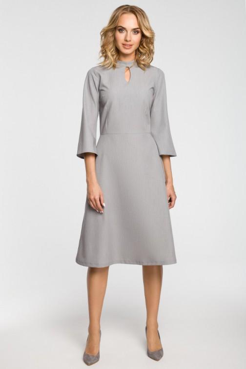 CM3103 Sukienka z łezką w dekolcie - szara