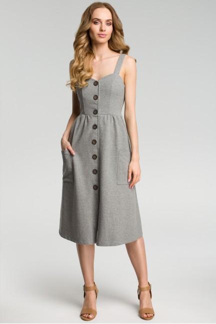 Sukienka na szelkach z guzikami - szary melanż